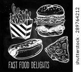 fast food set vintage linear... | Shutterstock .eps vector #289764212