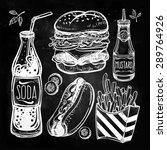 fast food set vintage linear... | Shutterstock .eps vector #289764926