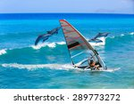windsurfing and dolphin | Shutterstock . vector #289773272