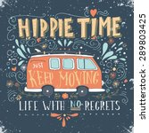 Vintage Hippie Time Print With...