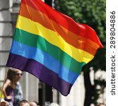 rainbow flag waiving in london'... | Shutterstock . vector #289804886