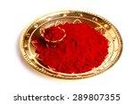 macro of red gulal   kumkum ...   Shutterstock . vector #289807355