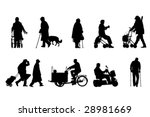 Stock vector senior silhouettes collection 28981669