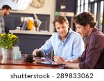two men meeting at a coffee shop | Shutterstock . vector #289833062