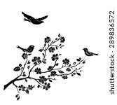 twig sakura blossoms and birds. ... | Shutterstock .eps vector #289836572