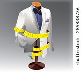male suit on stand. suits on... | Shutterstock .eps vector #289838786