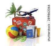 travel concept. plane  suitcase ... | Shutterstock . vector #289862066