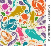 vector seamless seafood and... | Shutterstock .eps vector #289865408