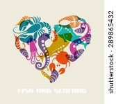 vector color fish and seafood... | Shutterstock .eps vector #289865432