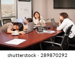 group of people falling asleep... | Shutterstock . vector #289870292