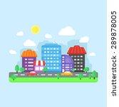 city landscape. flat urban... | Shutterstock .eps vector #289878005