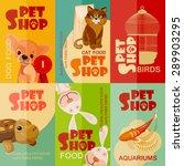Stock vector vintage pet shop poster design set 289903295
