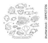 fish line icons with outline... | Shutterstock .eps vector #289927256