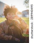beautiful black curly hair...   Shutterstock . vector #289940495