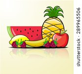 Vector Fruit Set Watermelon...