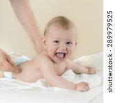 newborn baby getting oil... | Shutterstock . vector #289979525