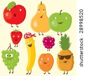 cheerful fruits and berry | Shutterstock .eps vector #28998520