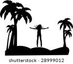 the vector silhouette girl on...   Shutterstock .eps vector #28999012