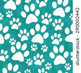 Teal And White Dog Paw Prints...