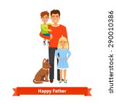 happy father holding his son in ... | Shutterstock .eps vector #290010386