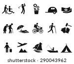 black retirement life icons set | Shutterstock .eps vector #290043962
