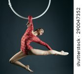 Small photo of Shot of graceful female aerialist posing at camera