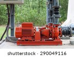 red motor water pump and water... | Shutterstock . vector #290049116