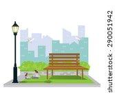 illustration.public park in the ... | Shutterstock .eps vector #290051942