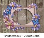 scrapbook elements on  wooden... | Shutterstock .eps vector #290053286