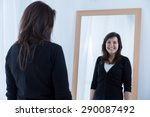 reflection of girl wearing a... | Shutterstock . vector #290087492