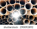 many steel pipes of russian... | Shutterstock . vector #290092892