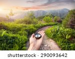 hand with compass at mountain... | Shutterstock . vector #290093642