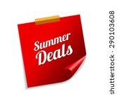 summer deals red sticky notes... | Shutterstock .eps vector #290103608