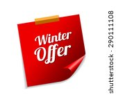 winter offer red sticky notes... | Shutterstock .eps vector #290111108