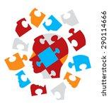 puzzle head symbolizing...   Shutterstock .eps vector #290114666