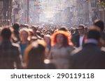 People Crowd Walking On Busy...