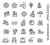 Summer Line Icons Set.