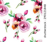 watercolor painting with rose... | Shutterstock .eps vector #290121848
