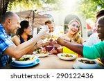 diverse people friends hanging... | Shutterstock . vector #290122436