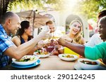 diverse people friends hanging... | Shutterstock . vector #290124245