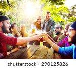 diverse people friends hanging... | Shutterstock . vector #290125826