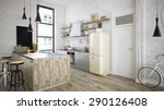 rustic kitchen 3d render  | Shutterstock . vector #290126408