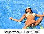 beautiful young woman in bikini ... | Shutterstock . vector #290142488