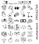thirty doodle icons hipster... | Shutterstock .eps vector #290162765