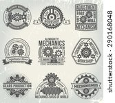 vintage logos with gears and... | Shutterstock .eps vector #290168048
