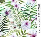 watercolor seamless tropical... | Shutterstock . vector #290187902