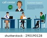 vector flat call center concept ...   Shutterstock .eps vector #290190128