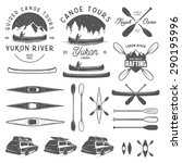 Set Of Kayak And Canoe Emblems...