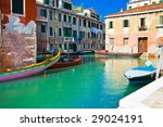 A typical venetian canal in summer, Venice - stock photo
