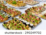 sushi salmon and caviar rolls...   Shutterstock . vector #290249702